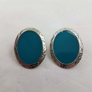 Blue Silver Tone Earrings Pierced Southwestern Fau
